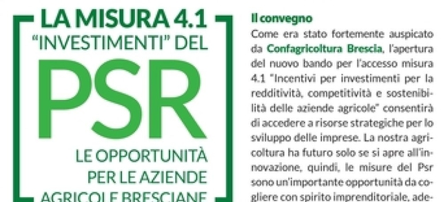 """Confagricoltura Brescia sarà protagonista alla Fiera di Lonato: venerdì 18 il convegno sulla misura 4.1 """"Investimenti"""" del Psr"""