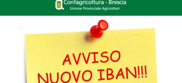Variazione IBAN Unione Agricoltori Srl